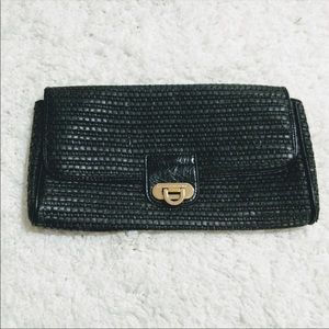 French Connection Coated Woven Paper Clutch